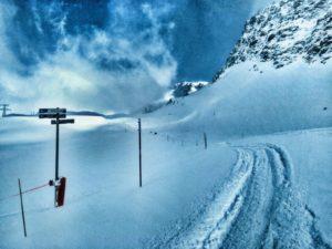 Off piste run in ski resort