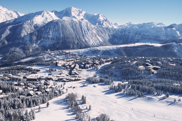 Areal view of pistes and trees in ski resort