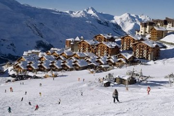 view from piste of ski resort chalets