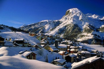 Snow covered village in the alps