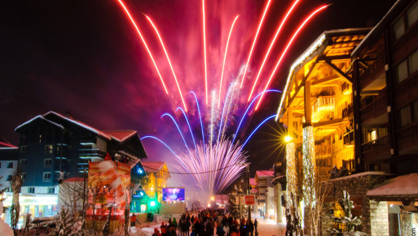 ValdIsere town with fireworks display