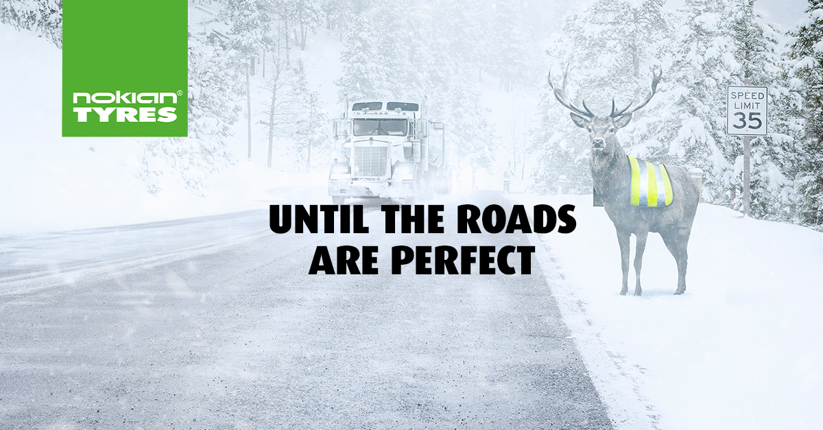 Snowy road with truck, trees and deer.