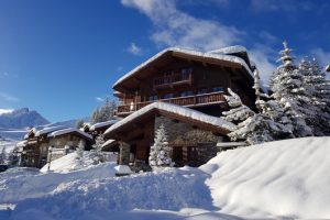 Ski chalet in the snow