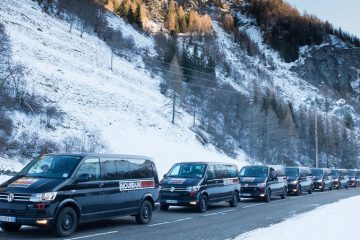 Line of Mountain Rescue vans