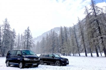 Multivan and Tiguan in snow